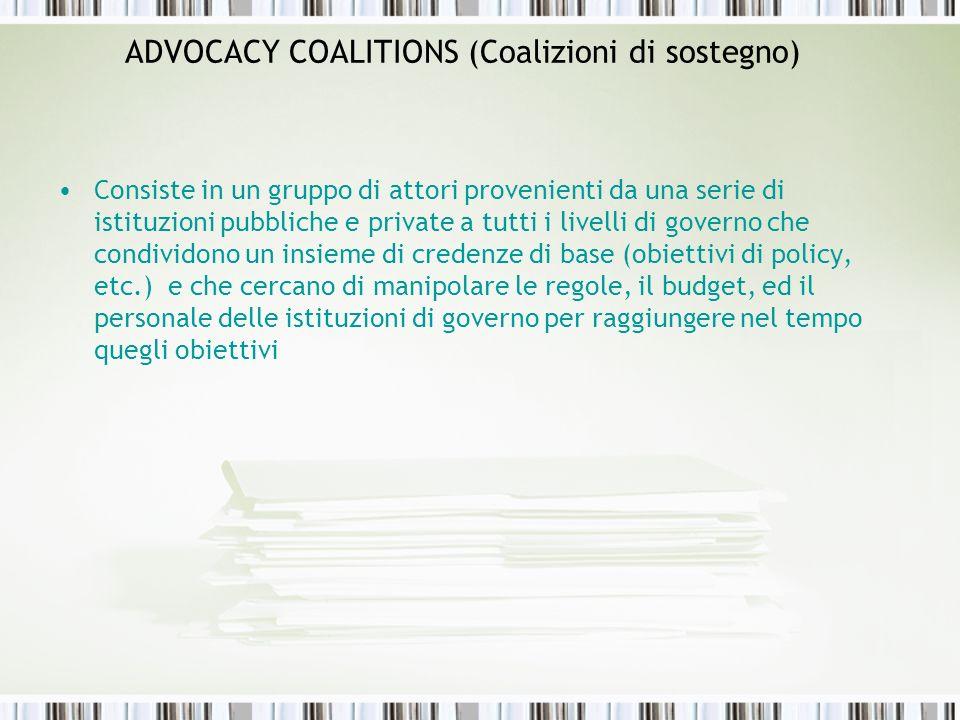 ADVOCACY COALITIONS (Coalizioni di sostegno) Consiste in un gruppo di attori provenienti da una serie di istituzioni pubbliche e private a tutti i liv