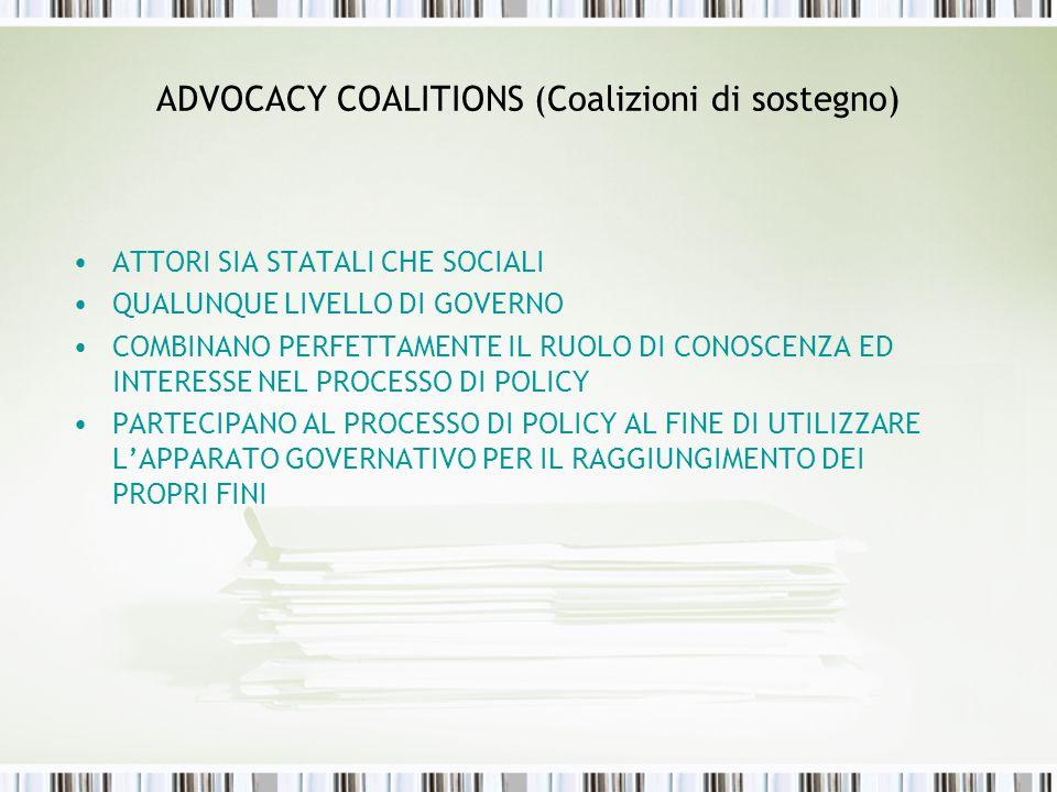ADVOCACY COALITIONS (Coalizioni di sostegno) ATTORI SIA STATALI CHE SOCIALI QUALUNQUE LIVELLO DI GOVERNO COMBINANO PERFETTAMENTE IL RUOLO DI CONOSCENZ