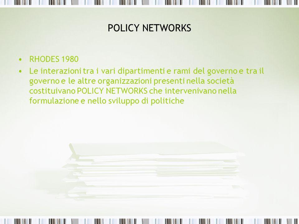 POLICY NETWORKS RHODES 1980 Le interazioni tra i vari dipartimenti e rami del governo e tra il governo e le altre organizzazioni presenti nella societ