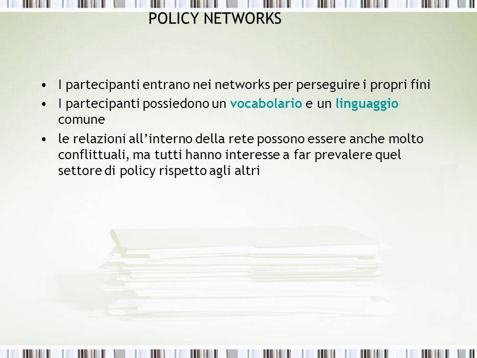 POLICY NETWORKS I partecipanti entrano nei networks per perseguire i propri fini I partecipanti possiedono un vocabolario e un linguaggio comune le re