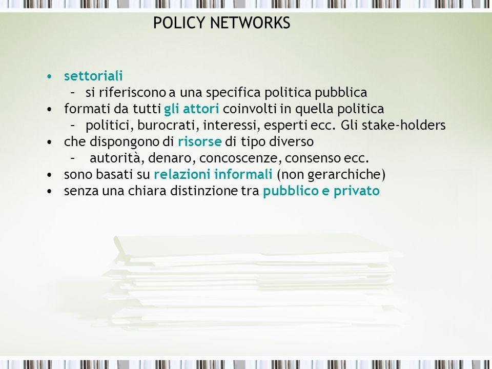 POLICY NETWORKS settoriali –si riferiscono a una specifica politica pubblica formati da tutti gli attori coinvolti in quella politica –politici, buroc