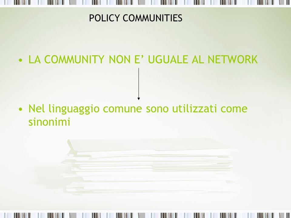 POLICY COMMUNITIES LA COMMUNITY NON E UGUALE AL NETWORK Nel linguaggio comune sono utilizzati come sinonimi