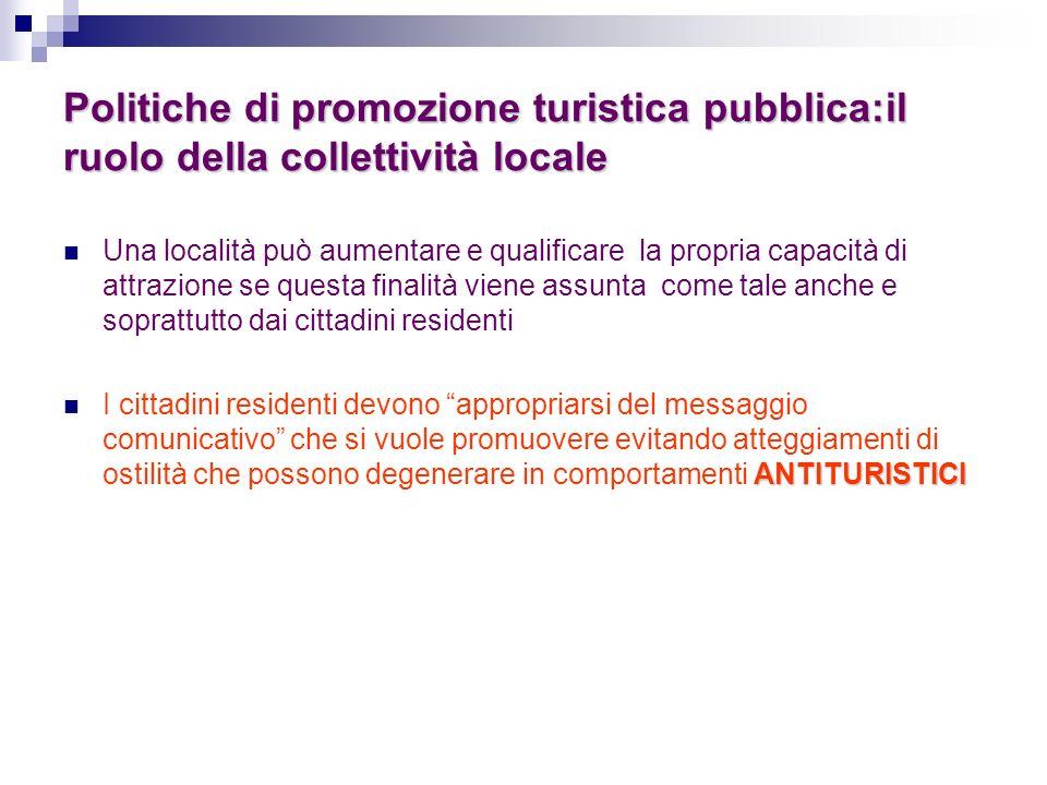 Politiche di promozione turistica pubblica:il ruolo della collettività locale Una località può aumentare e qualificare la propria capacità di attrazio