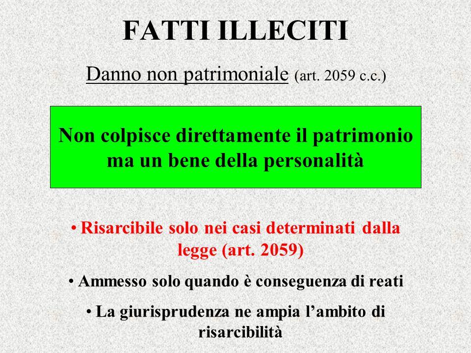 FATTI ILLECITI Danno non patrimoniale (art. 2059 c.c.) Risarcibile solo nei casi determinati dalla legge (art. 2059) Ammesso solo quando è conseguenza
