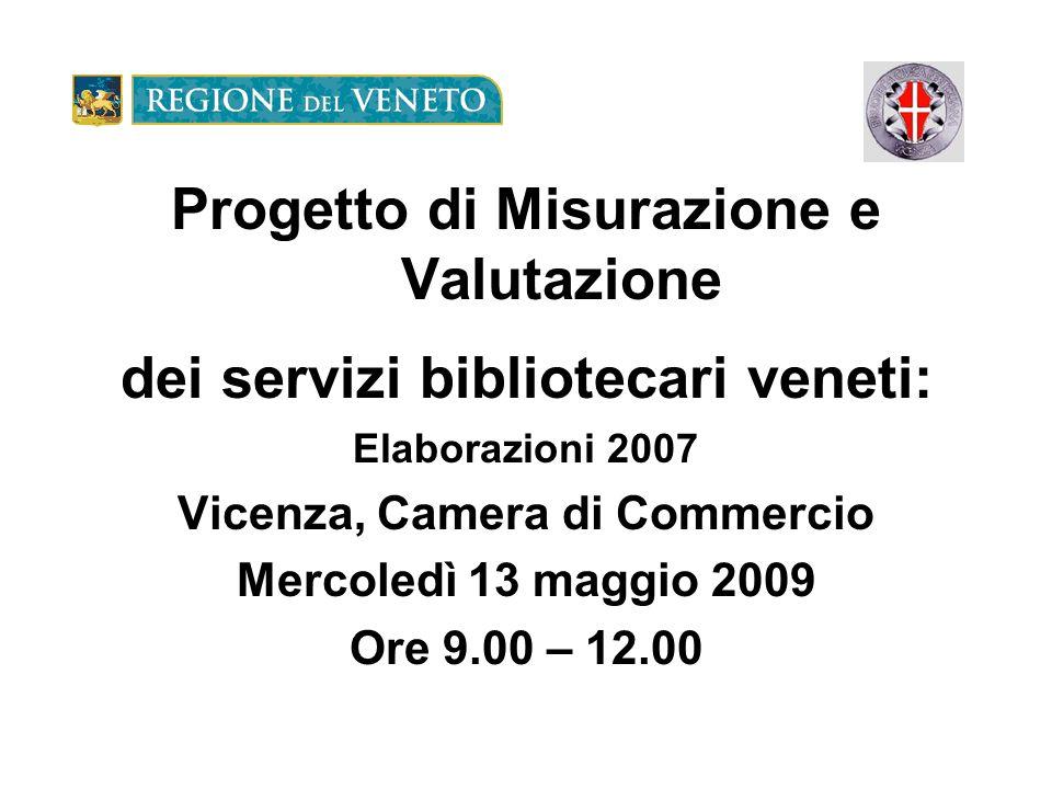 Progetto di Misurazione e Valutazione dei servizi bibliotecari veneti: Elaborazioni 2007 Vicenza, Camera di Commercio Mercoledì 13 maggio 2009 Ore 9.00 – 12.00
