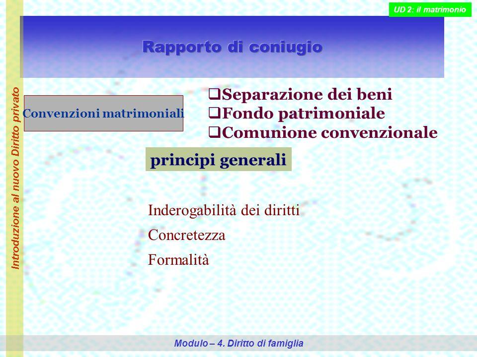 Convenzioni matrimoniali Separazione dei beni Fondo patrimoniale Comunione convenzionale principi generali Inderogabilità dei diritti Concretezza Formalità Introduzione al nuovo Diritto privato Modulo – 4.