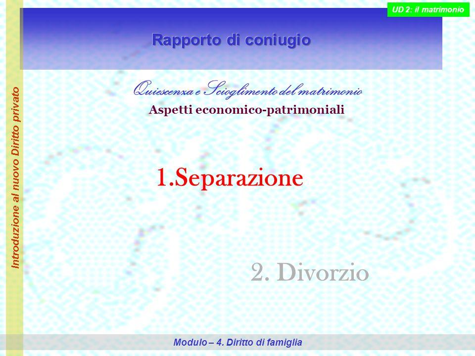 Quiescenza e Scioglimento del matrimonio Aspetti economico-patrimoniali 1.Separazione 2.