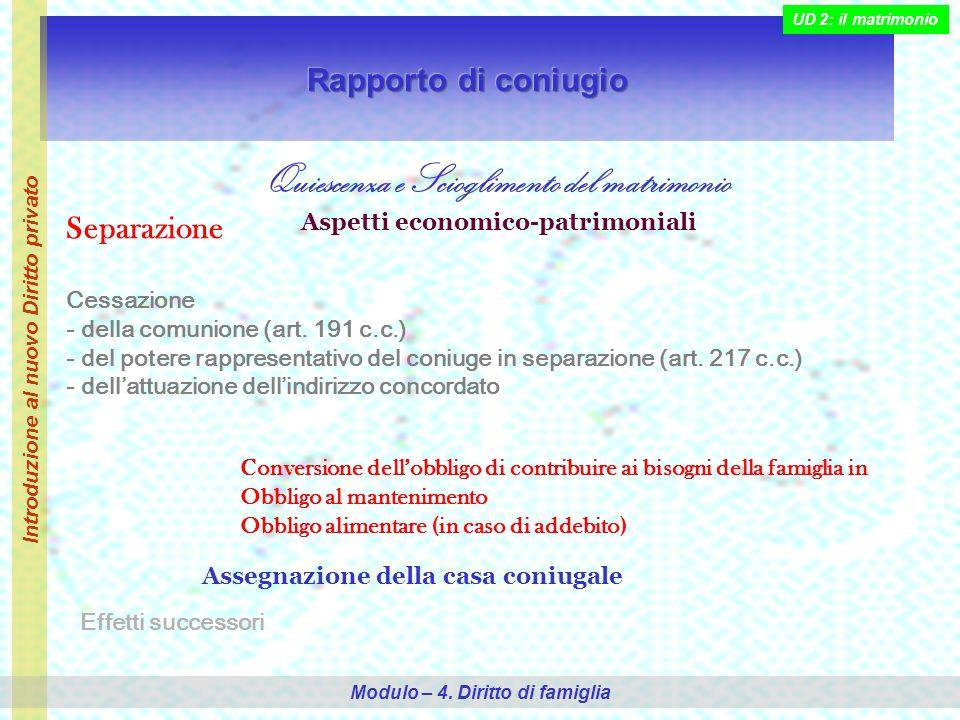 Quiescenza e Scioglimento del matrimonio Aspetti economico-patrimoniali Separazione Cessazione - della comunione (art.