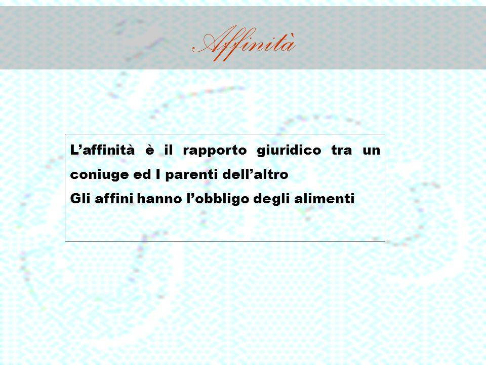 Affinità Laffinità è il rapporto giuridico tra un coniuge ed I parenti dellaltro Gli affini hanno lobbligo degli alimenti