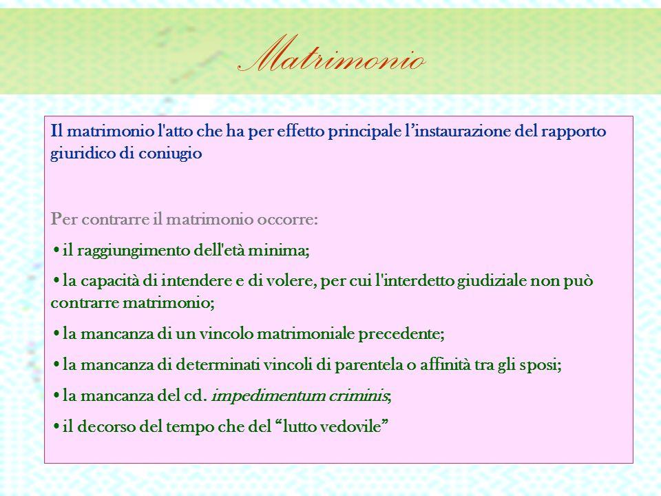 Matrimonio Conseguenze Rapporto di coniugio Rilevanza per i rapporti familiari Impedimento matrimoniale (art.