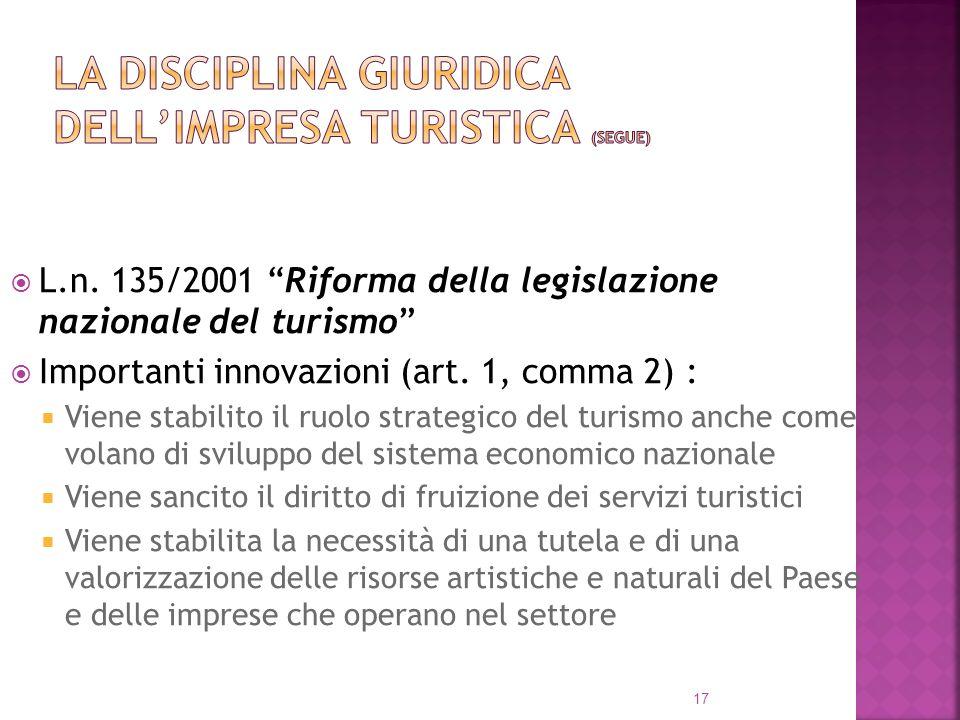 L.n. 135/2001 Riforma della legislazione nazionale del turismo Importanti innovazioni (art. 1, comma 2) : Viene stabilito il ruolo strategico del turi