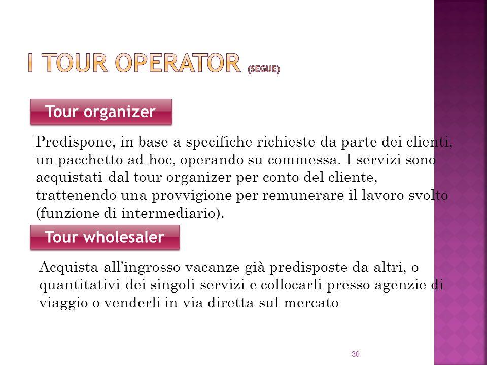 30 Tour organizer Predispone, in base a specifiche richieste da parte dei clienti, un pacchetto ad hoc, operando su commessa. I servizi sono acquistat