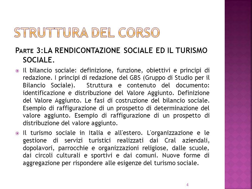 P ARTE 3:LA RENDICONTAZIONE SOCIALE ED IL TURISMO SOCIALE. Il bilancio sociale: definizione, funzione, obiettivi e principi di redazione. I principi d