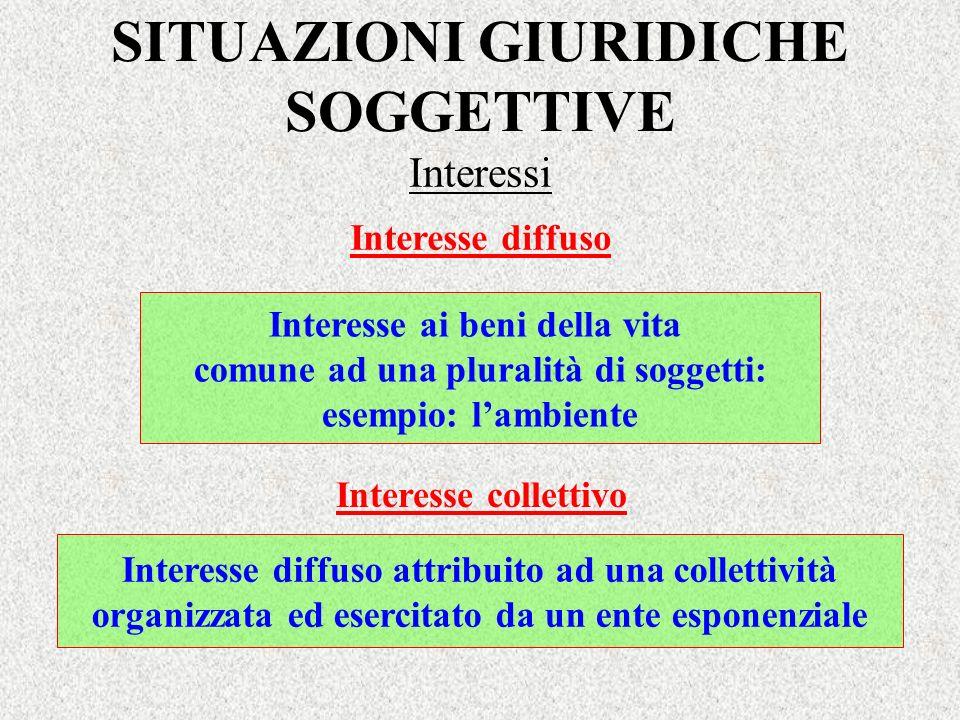 Interesse diffuso Interesse ai beni della vita comune ad una pluralità di soggetti: esempio: lambiente Interesse collettivo Interesse diffuso attribui