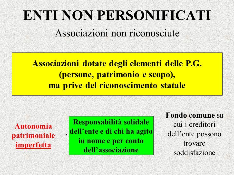 ENTI NON PERSONIFICATI Associazioni non riconosciute Associazioni dotate degli elementi delle P.G. (persone, patrimonio e scopo), ma prive del riconos