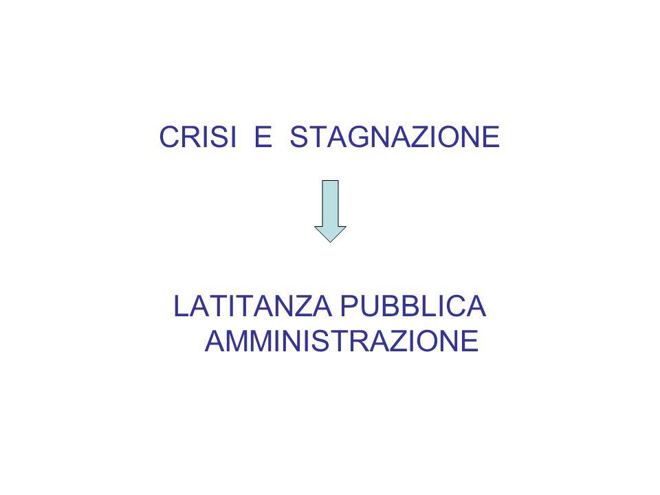 CRISI E STAGNAZIONE LATITANZA PUBBLICA AMMINISTRAZIONE