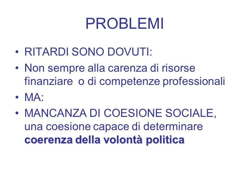 PROBLEMI RITARDI SONO DOVUTI: Non sempre alla carenza di risorse finanziare o di competenze professionali MA: coerenza della volontà politicaMANCANZA DI COESIONE SOCIALE, una coesione capace di determinare coerenza della volontà politica