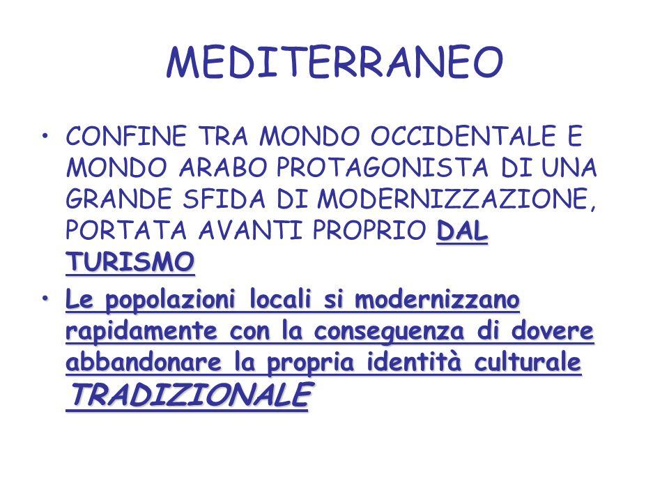 MEDITERRANEO DAL TURISMOCONFINE TRA MONDO OCCIDENTALE E MONDO ARABO PROTAGONISTA DI UNA GRANDE SFIDA DI MODERNIZZAZIONE, PORTATA AVANTI PROPRIO DAL TURISMO Le popolazioni locali si modernizzano rapidamente con la conseguenza di dovere abbandonare la propria identità culturale TRADIZIONALELe popolazioni locali si modernizzano rapidamente con la conseguenza di dovere abbandonare la propria identità culturale TRADIZIONALE