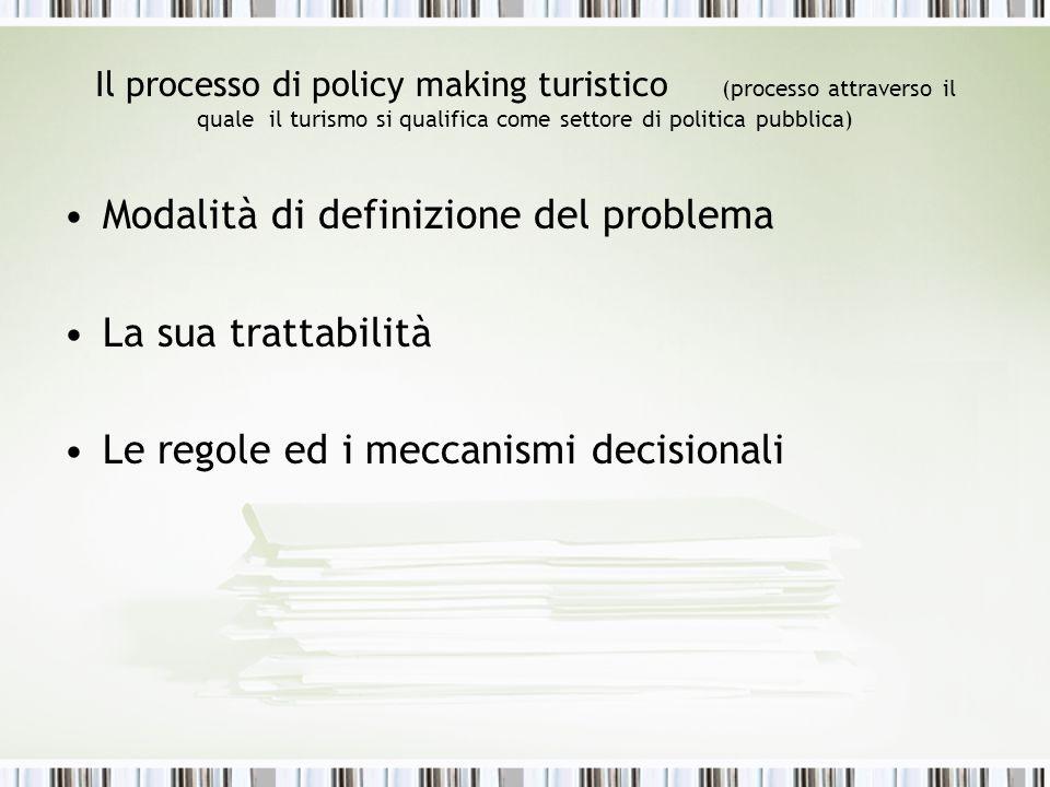 Il policy making turistico Porre al centro Gli attori, le loro caratteristiche i loro rapporti Le regole decisionali I valori –Capacità di influenzare o determinare gli esiti del processo decisionale
