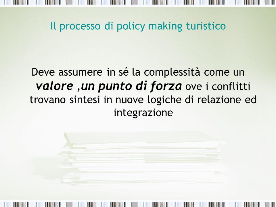 Il processo di policy making turistico Deve assumere in sé la complessità come un valore,un punto di forza ove i conflitti trovano sintesi in nuove lo