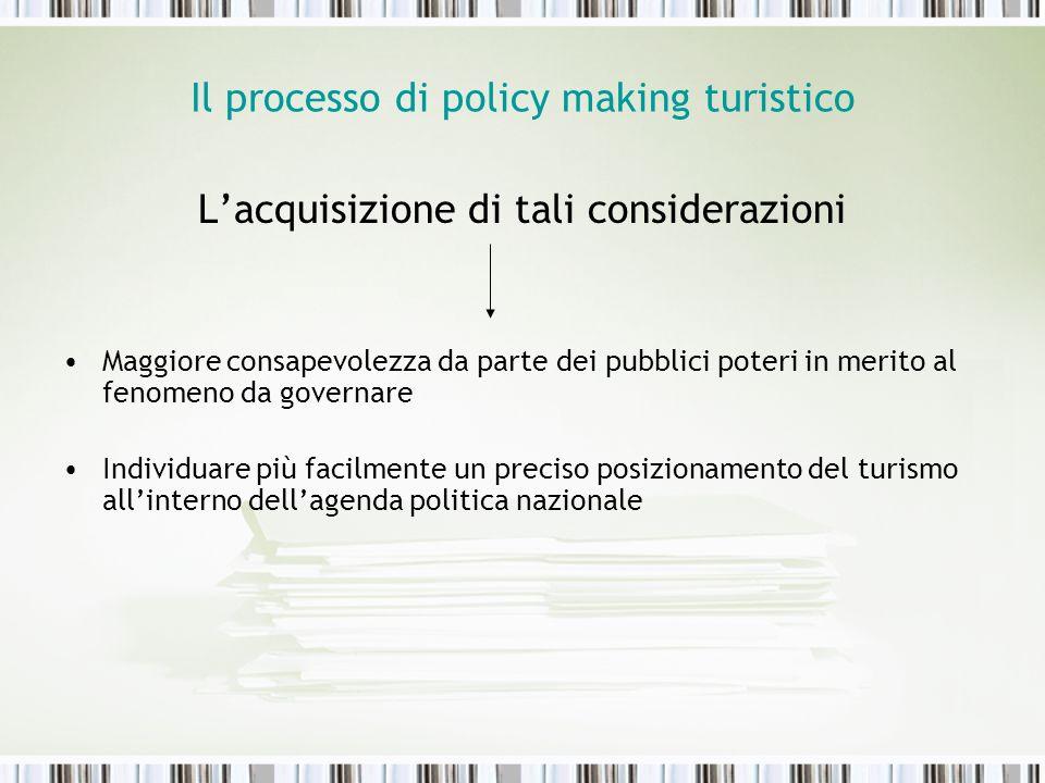Il processo di policy making turistico Lacquisizione di tali considerazioni Maggiore consapevolezza da parte dei pubblici poteri in merito al fenomeno