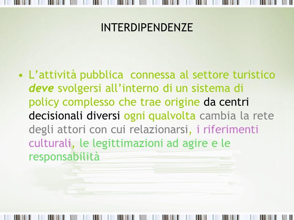 INTERDIPENDENZE Lattività pubblica connessa al settore turistico deve svolgersi allinterno di un sistema di policy complesso che trae origine da centr