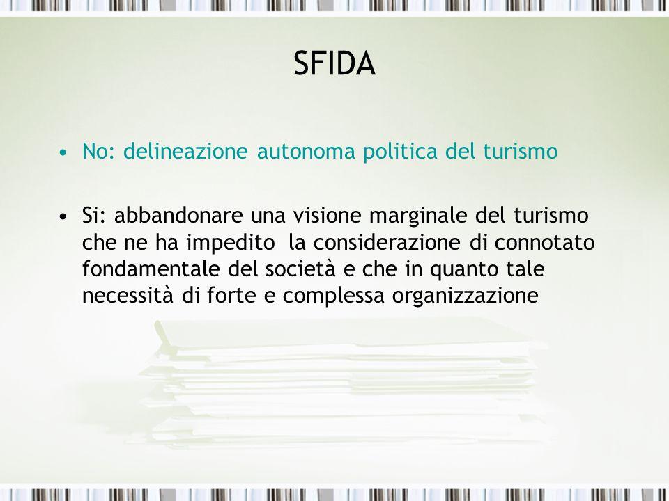 SFIDA No: delineazione autonoma politica del turismo Si: abbandonare una visione marginale del turismo che ne ha impedito la considerazione di connota