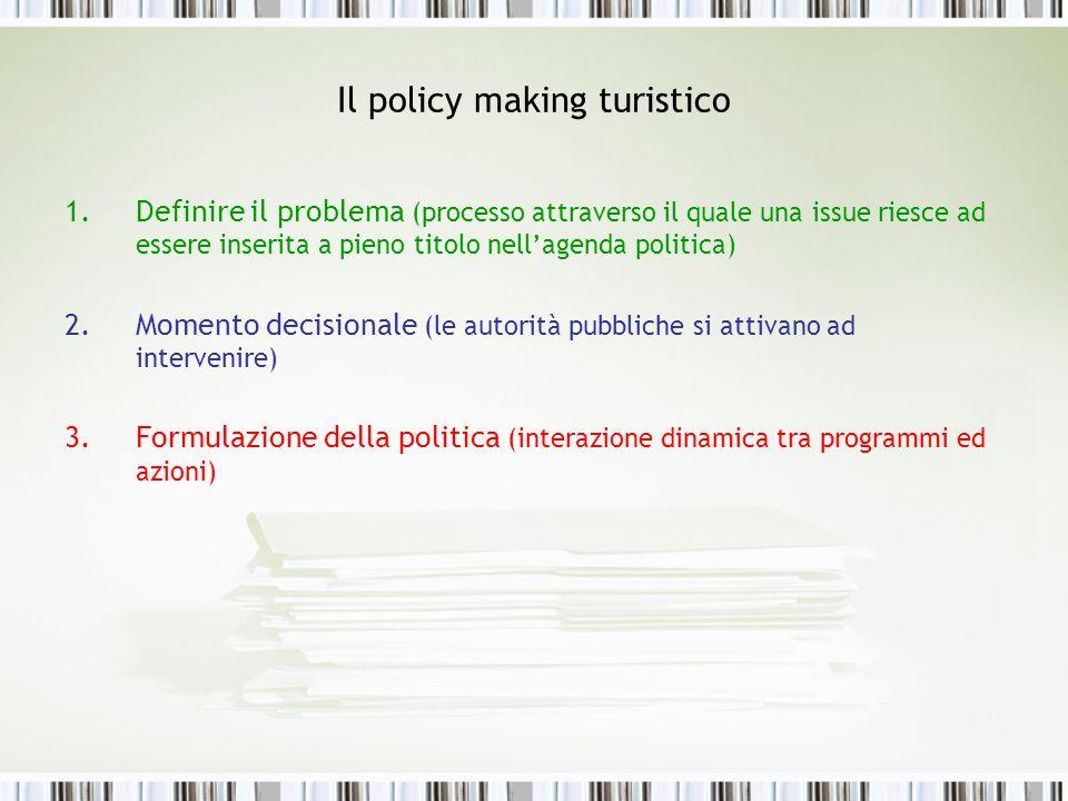Il policy making turistico 1.Definire il problema (processo attraverso il quale una issue riesce ad essere inserita a pieno titolo nellagenda politica