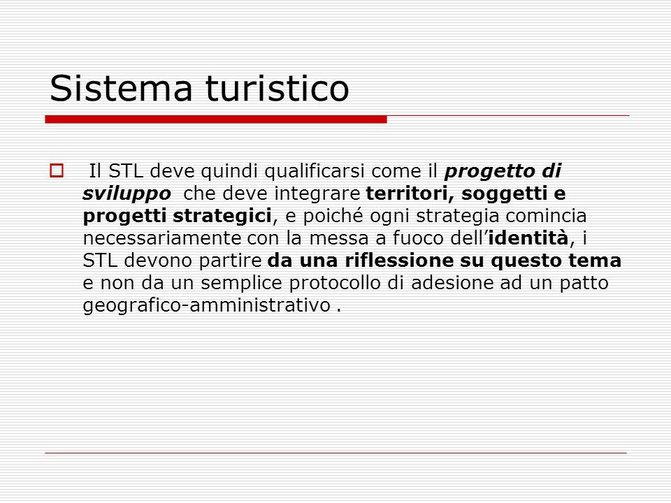 Sistema turistico Il STL deve quindi qualificarsi come il progetto di sviluppo che deve integrare territori, soggetti e progetti strategici, e poiché