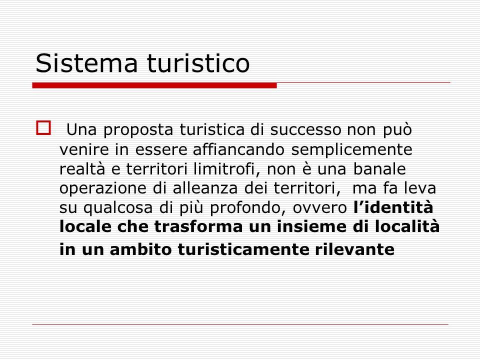 Sistema turistico Una proposta turistica di successo non può venire in essere affiancando semplicemente realtà e territori limitrofi, non è una banale