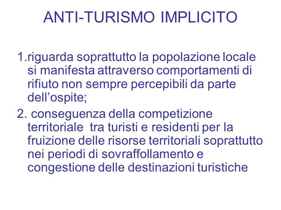 ANTI-TURISMO IMPLICITO 1.riguarda soprattutto la popolazione locale si manifesta attraverso comportamenti di rifiuto non sempre percepibili da parte dellospite; 2.