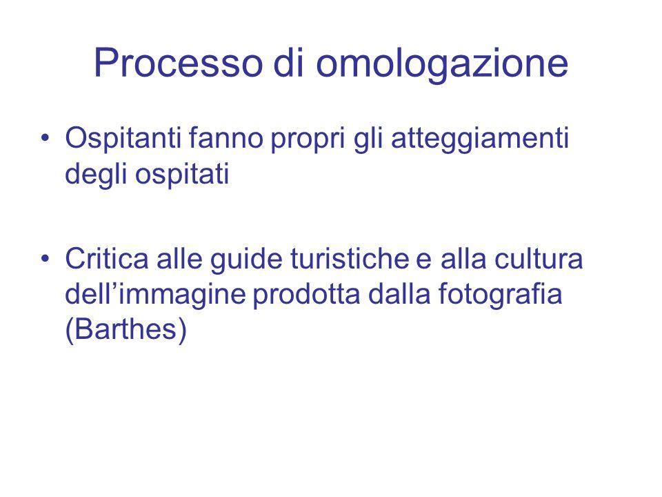 Processo di omologazione Ospitanti fanno propri gli atteggiamenti degli ospitati Critica alle guide turistiche e alla cultura dellimmagine prodotta dalla fotografia (Barthes)