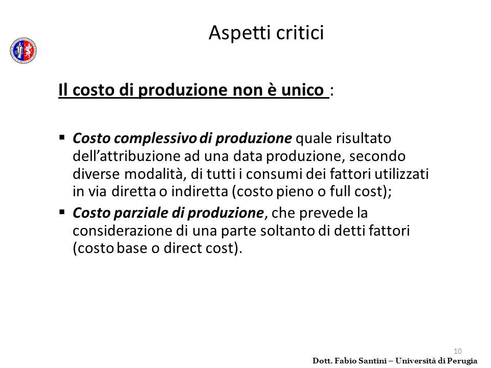 10 Il costo di produzione non è unico : Costo complessivo di produzione quale risultato dellattribuzione ad una data produzione, secondo diverse modal