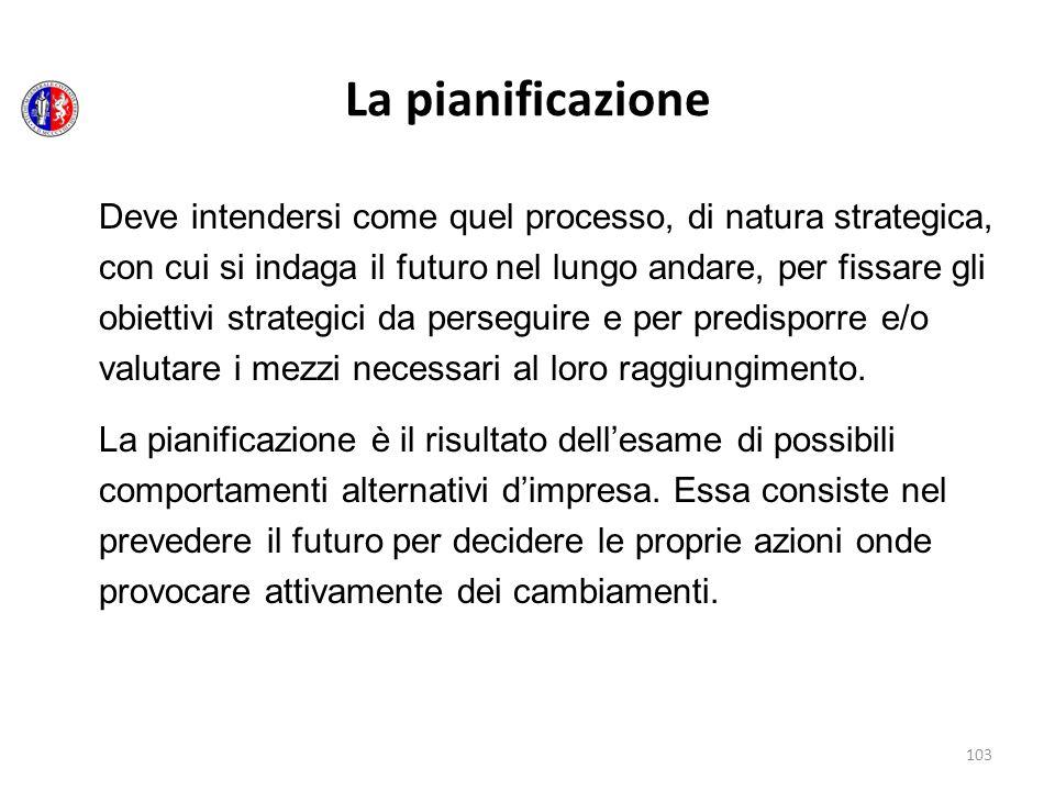 103 La pianificazione Deve intendersi come quel processo, di natura strategica, con cui si indaga il futuro nel lungo andare, per fissare gli obiettiv