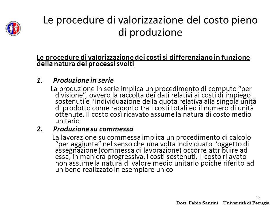 13 Le procedure di valorizzazione dei costi si differenziano in funzione della natura dei processi svolti 1. Produzione in serie La produzione in seri