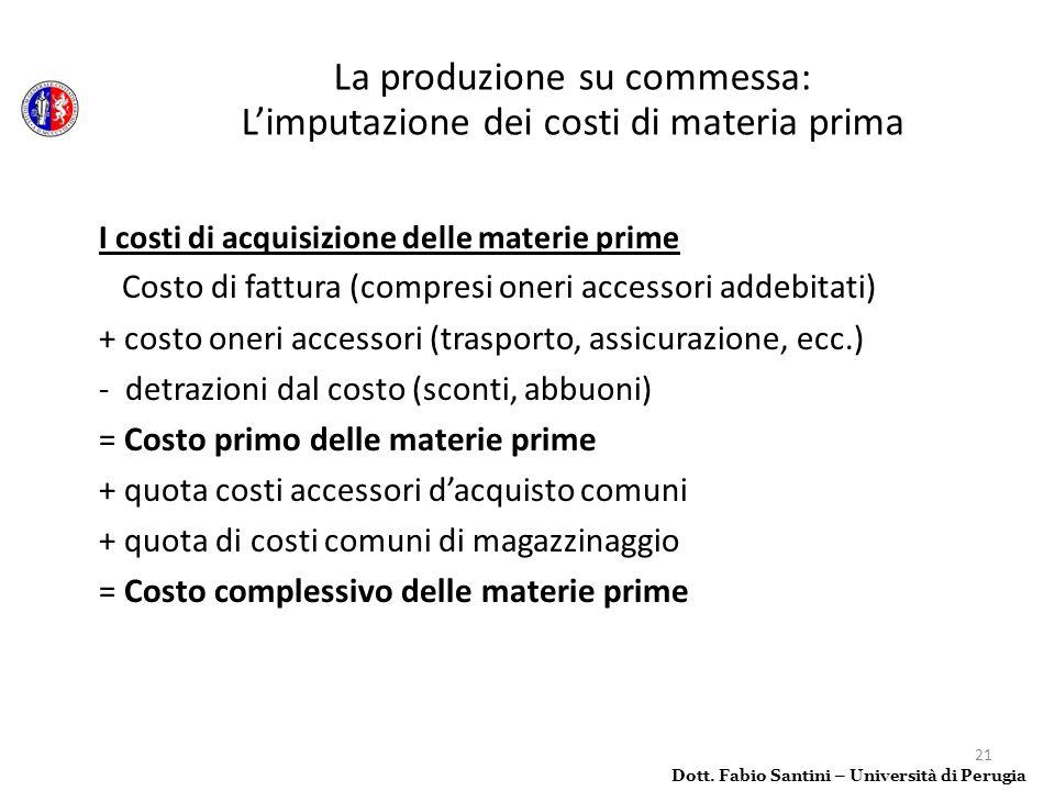 21 I costi di acquisizione delle materie prime Costo di fattura (compresi oneri accessori addebitati) + costo oneri accessori (trasporto, assicurazion