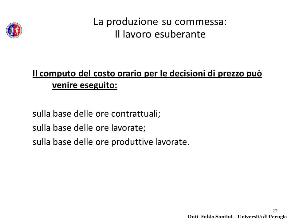 27 Il computo del costo orario per le decisioni di prezzo può venire eseguito: sulla base delle ore contrattuali; sulla base delle ore lavorate; sulla