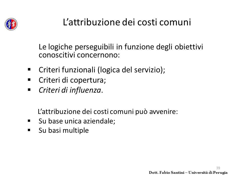 39 Le logiche perseguibili in funzione degli obiettivi conoscitivi concernono: Criteri funzionali (logica del servizio); Criteri di copertura; Criteri
