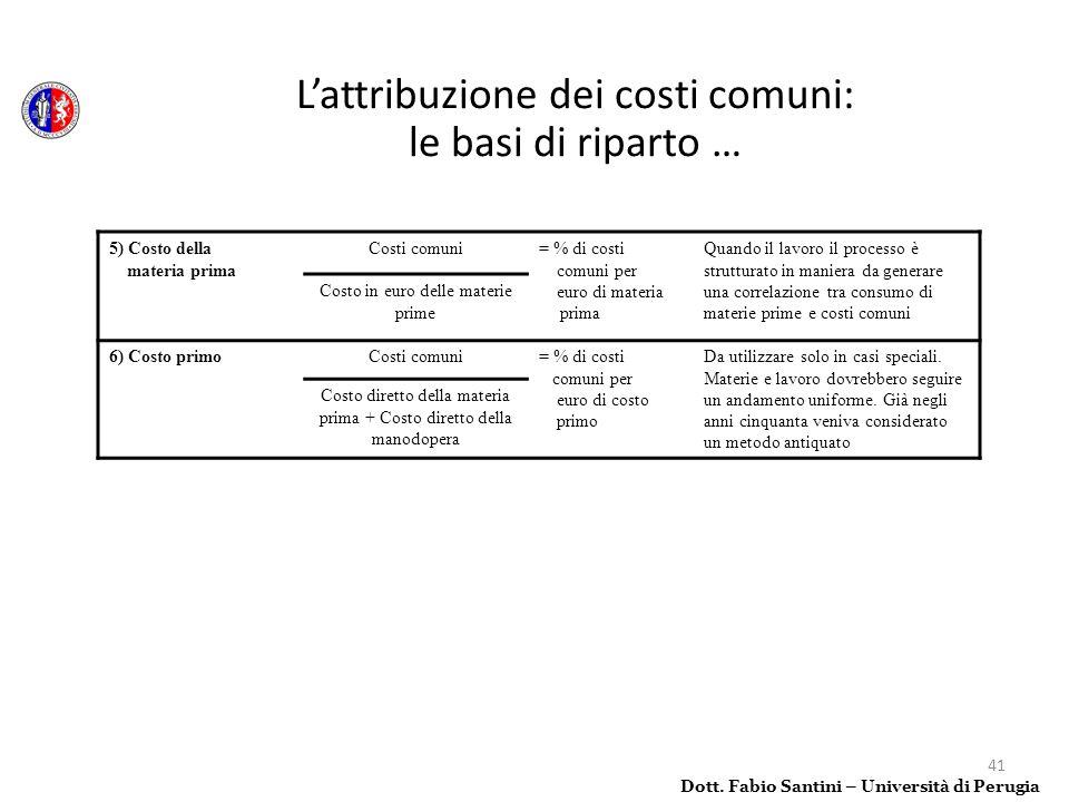 41 5) Costo della materia prima Costi comuni= % di costi comuni per euro di materia prima Quando il lavoro il processo è strutturato in maniera da gen