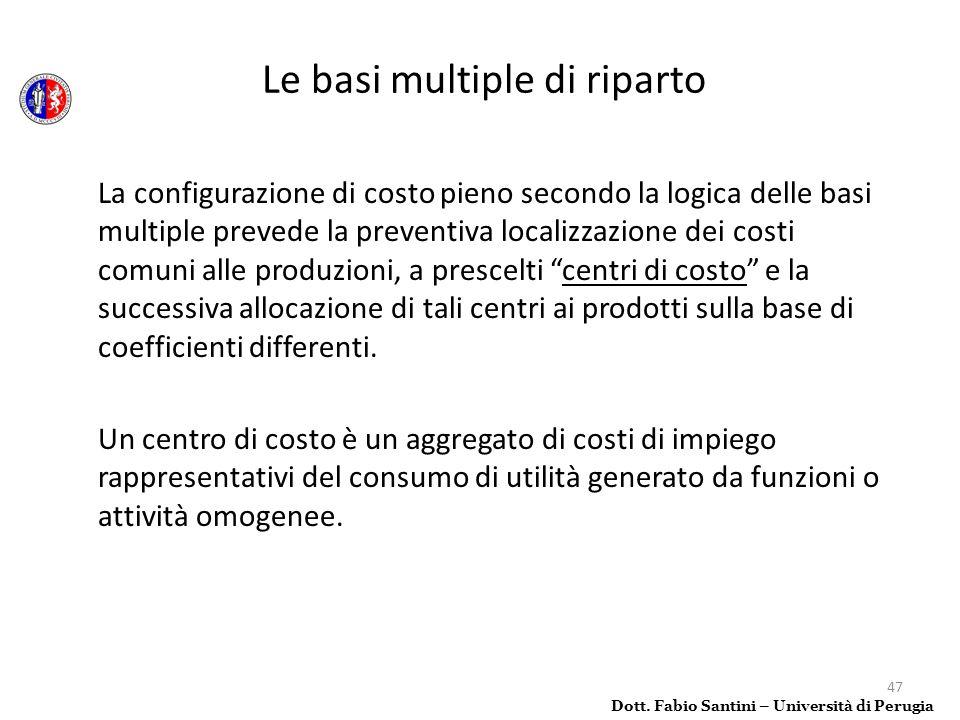 47 La configurazione di costo pieno secondo la logica delle basi multiple prevede la preventiva localizzazione dei costi comuni alle produzioni, a pre