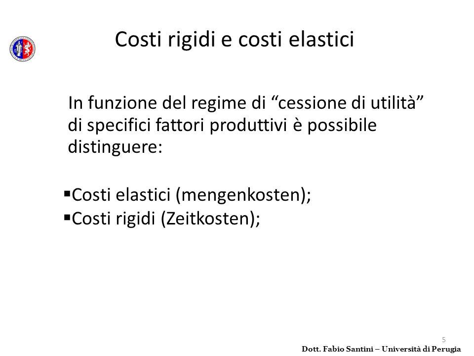 5 In funzione del regime di cessione di utilità di specifici fattori produttivi è possibile distinguere: Costi elastici (mengenkosten); Costi rigidi (