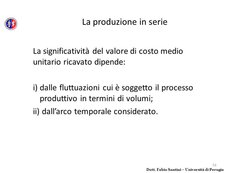 54 La significatività del valore di costo medio unitario ricavato dipende: i) dalle fluttuazioni cui è soggetto il processo produttivo in termini di v
