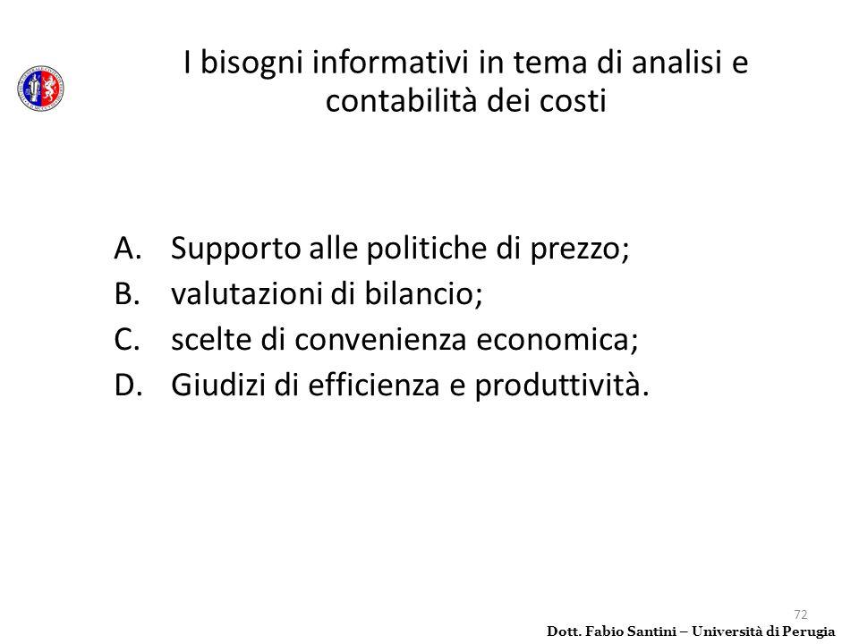 72 A.Supporto alle politiche di prezzo; B.valutazioni di bilancio; C.scelte di convenienza economica; D.Giudizi di efficienza e produttività. Dott. Fa