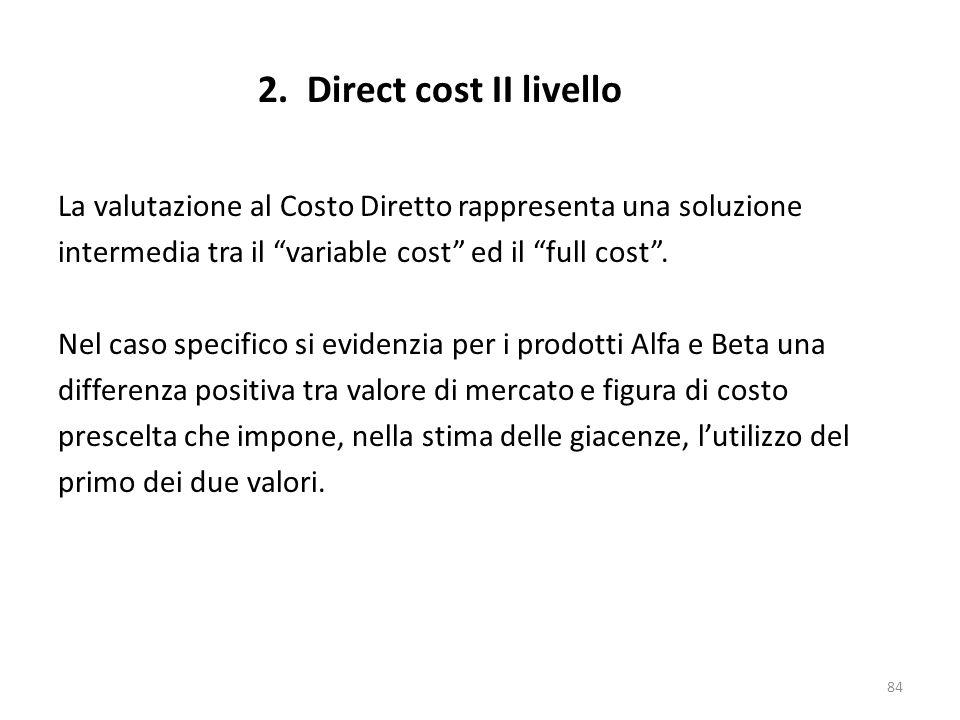 84 La valutazione al Costo Diretto rappresenta una soluzione intermedia tra il variable cost ed il full cost. Nel caso specifico si evidenzia per i pr