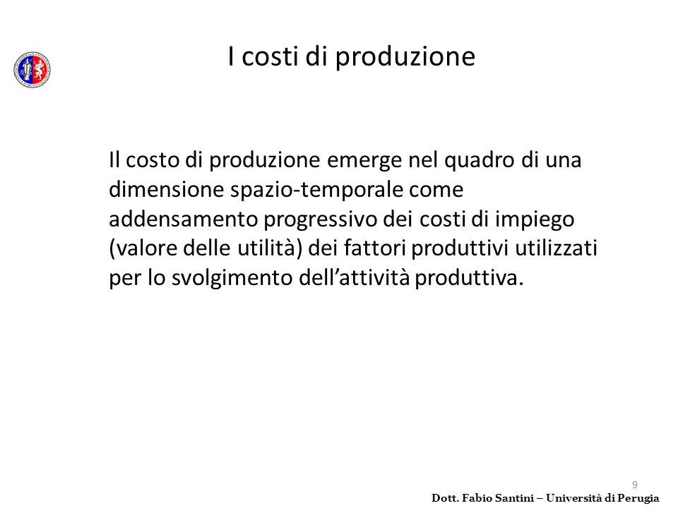 50 Se si considera una imprese che realizza una produzione indifferenziata, allora, stabilito un orizzonte temporale, il costo medio di produzione si computa come: Costi totali di impiego Volume produttivo Dott.