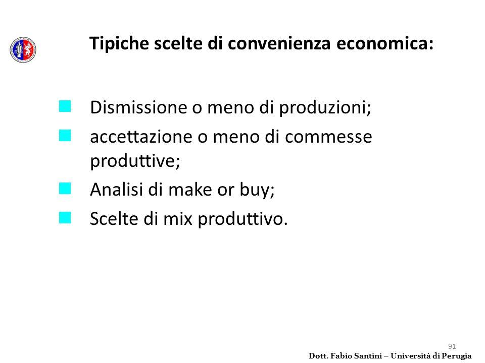 91 Tipiche scelte di convenienza economica: Dismissione o meno di produzioni; accettazione o meno di commesse produttive; Analisi di make or buy; Scel