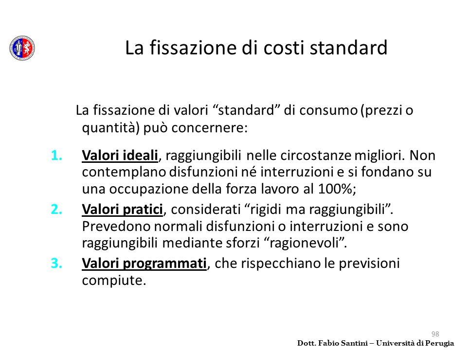 98 La fissazione di valori standard di consumo (prezzi o quantità) può concernere: 1.Valori ideali, raggiungibili nelle circostanze migliori. Non cont
