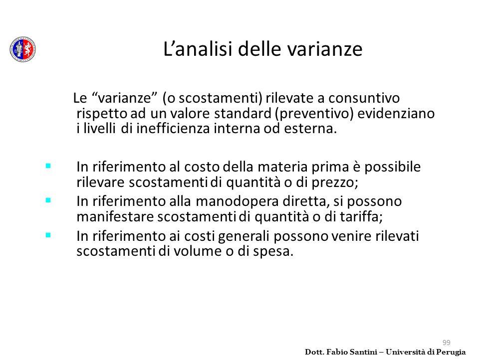 99 Le varianze (o scostamenti) rilevate a consuntivo rispetto ad un valore standard (preventivo) evidenziano i livelli di inefficienza interna od este