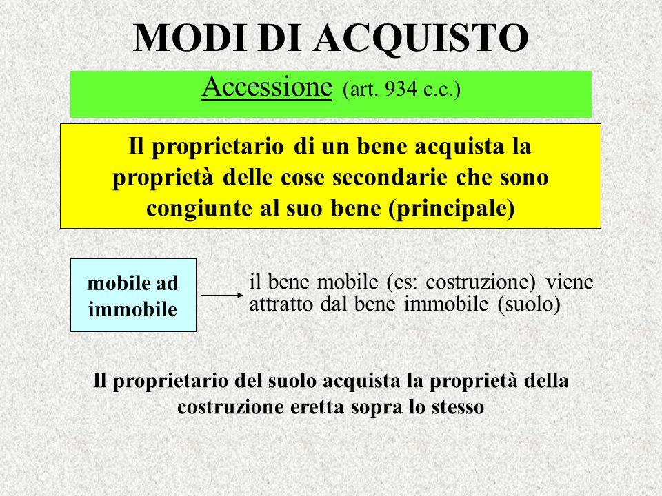 MODI DI ACQUISTO Accessione (art. 934 c.c.) Il proprietario di un bene acquista la proprietà delle cose secondarie che sono congiunte al suo bene (pri