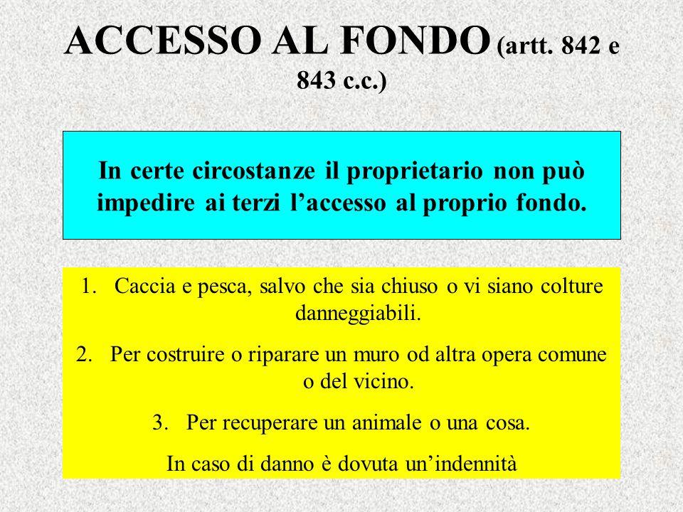 ACCESSO AL FONDO (artt. 842 e 843 c.c.) In certe circostanze il proprietario non può impedire ai terzi laccesso al proprio fondo. 1.Caccia e pesca, sa